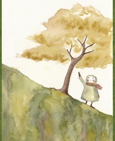 ilustracion arbol niño, claudia vidal diseñadora